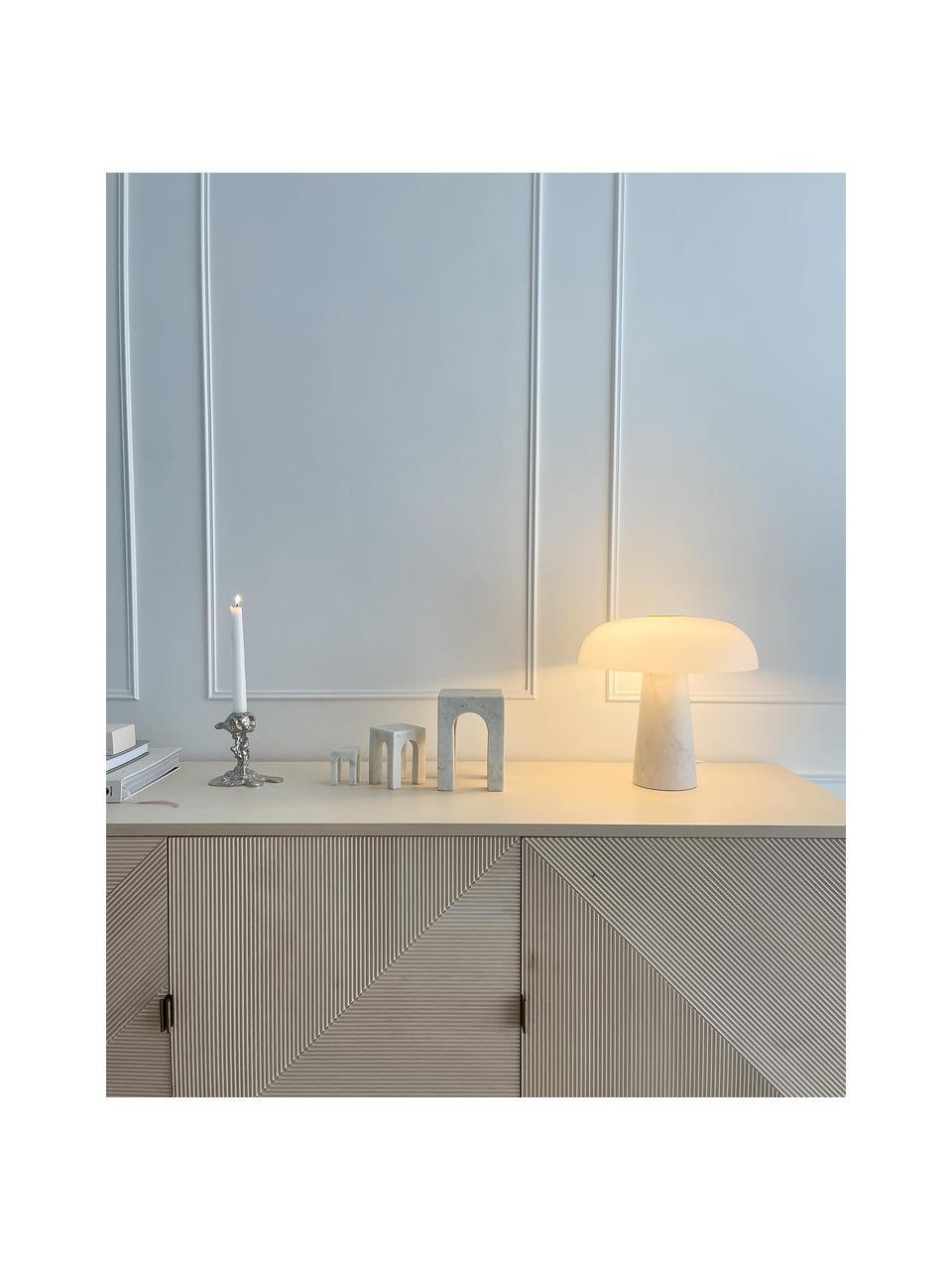 Lampada da tavolo con base in marmo Glossy, Paralume: vetro opale, Base della lampada: marmo, Bianco, Ø 32 x Alt. 32 cm