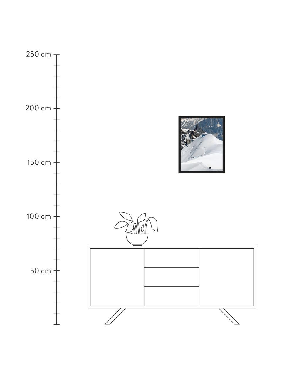 Stampa digitale incorniciata The Ice Caps And Mountains., Immagine: stampa digitale su carta,, Cornice: legno verniciato, Multicolore, Larg. 43 x Alt. 53 cm