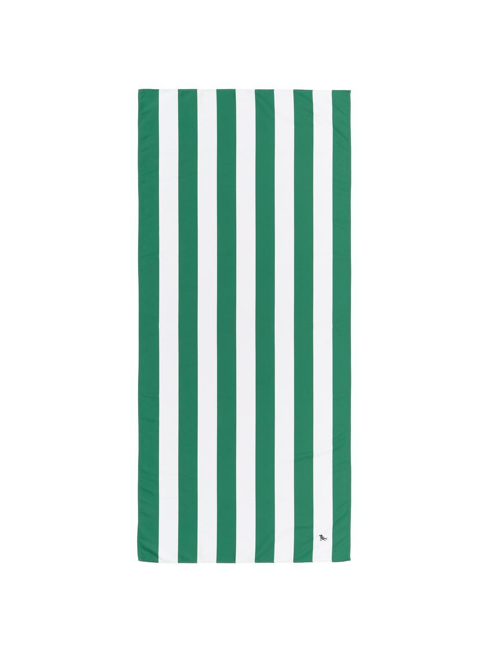 Microfaser-Strandtuch Cabana, schnell trocknend, Microfaser (80% Polyester, 20% Polyamid), Grün, Weiß, 90 x 200 cm