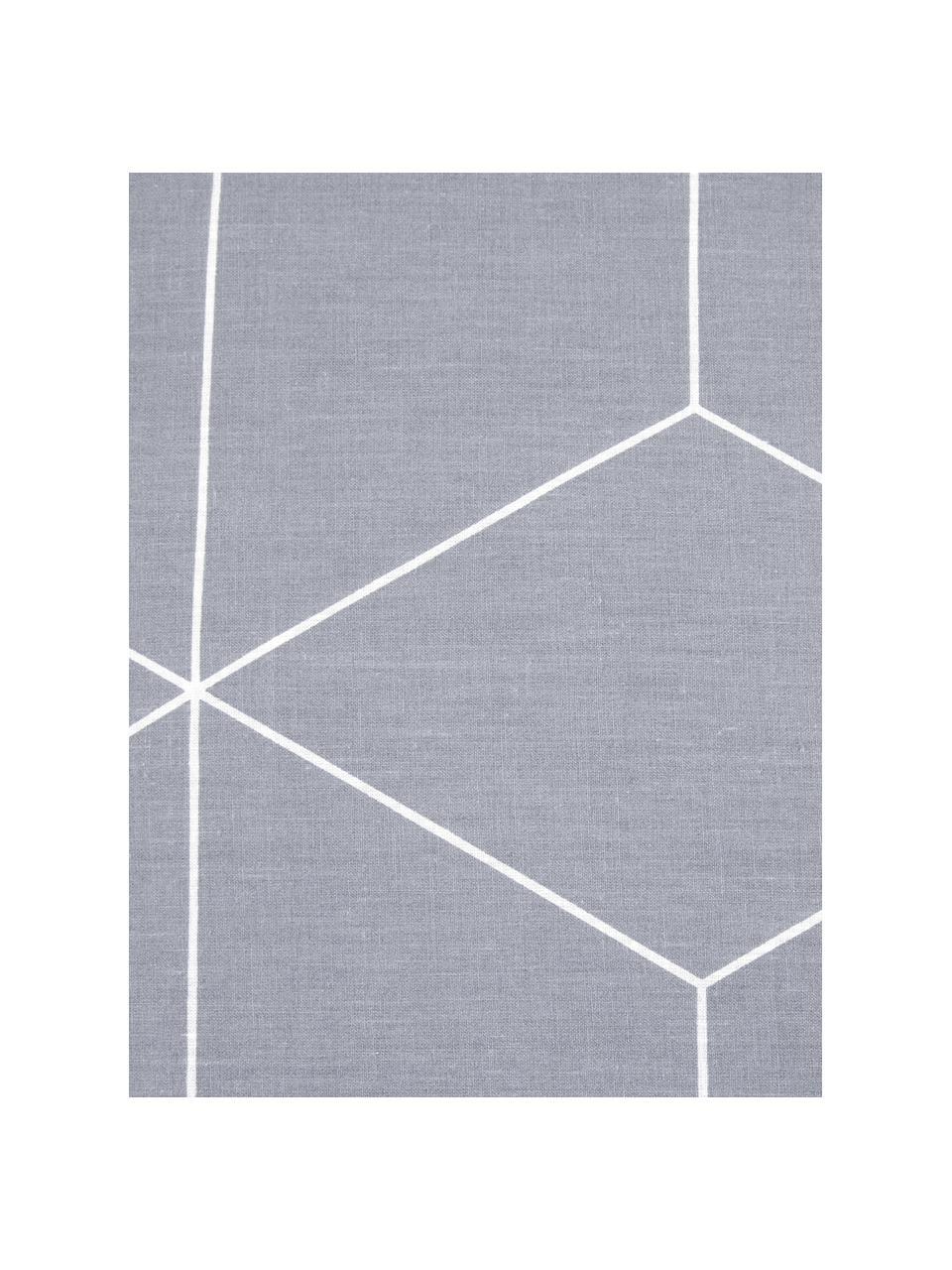 Pościel z bawełny Lynn, Szary, kremowobiały, 135 x 200 cm + 1 poduszka 80 x 80 cm