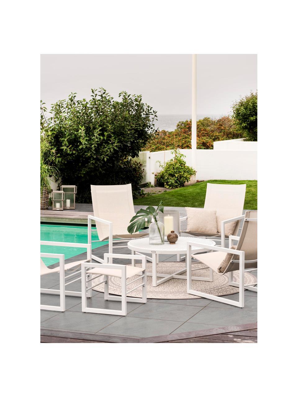 Garten-Couchtisch Vevi in Weiß, Aluminium, pulverbeschichtet, Weiß, Ø 100 x H 40 cm