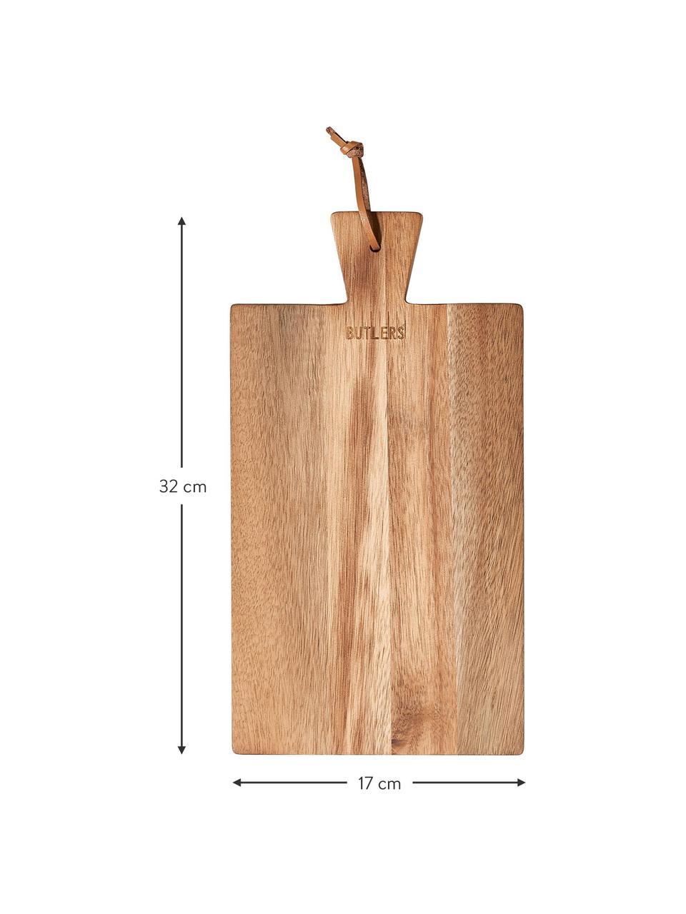 Akazienholz-Schneidebrett Cutting Crew mit Lederschlaufe, verschiedene Größen, Akazienholz, 24 x 43 cm