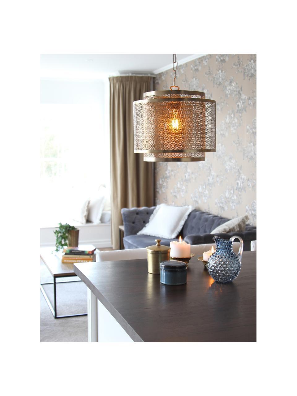 Lampada a sospensione in metallo Hermine, Paralume: ottone, Baldacchino: ottone, Ottone opaco, Ø 35 x Alt. 28 cm