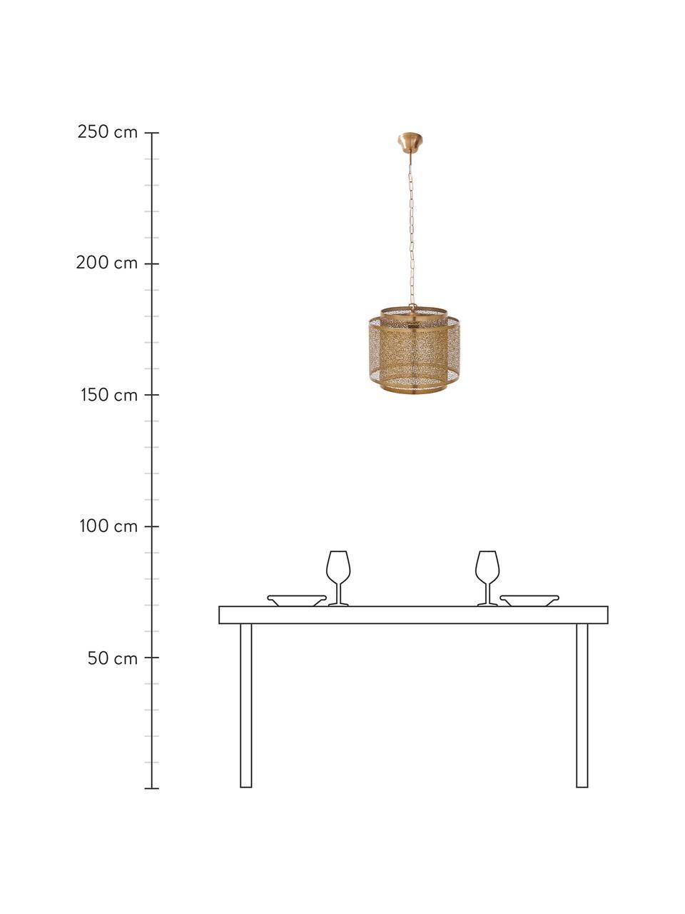 Boho-Pendelleuchte Hermine aus Metall, Lampenschirm: Messing, Baldachin: Messing, Messing, matt, Ø 35 x H 28 cm