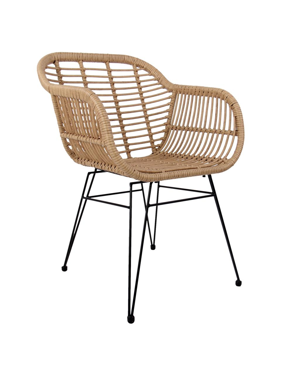 Polyrattan-Armlehnstühle Costa, 2 Stück, Sitzfläche: Polyethylen-Geflecht, Gestell: Metall, pulverbeschichtet, Hellbraun, Schwarz, B 59 x T 58 cm