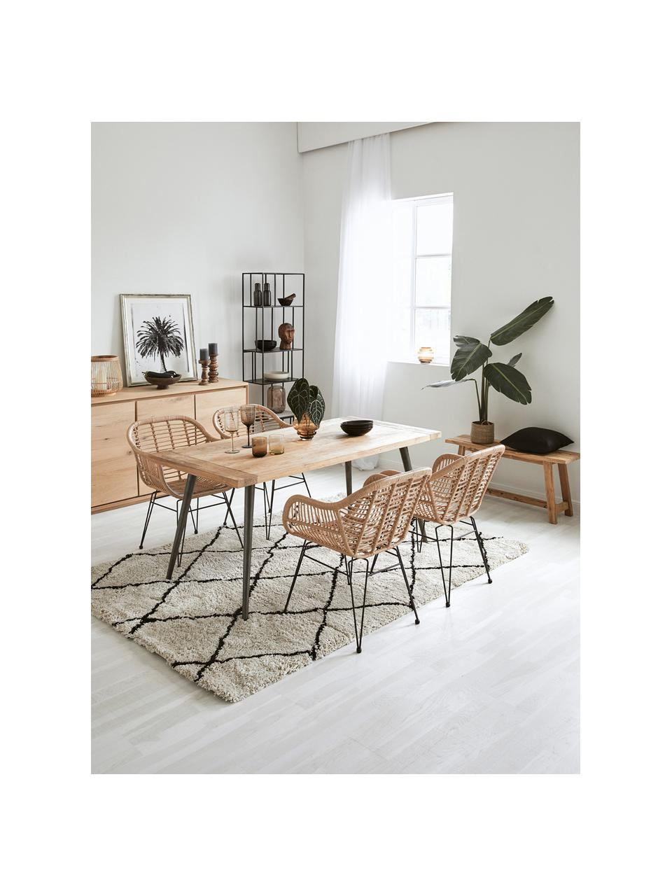Krzesło z podłokietnikami z polirattanu Costa, 2 szt., Stelaż: metal malowany proszkowo, Jasny brązowy, nogi: czarny, S 59 x G 58 cm