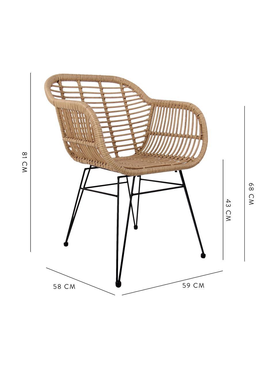 Sillas con reposabrazos Costa, 2uds., Asiento: polietileno, Estructura: metal con pintura en polv, Beige, negro, An 59 x F 58 cm