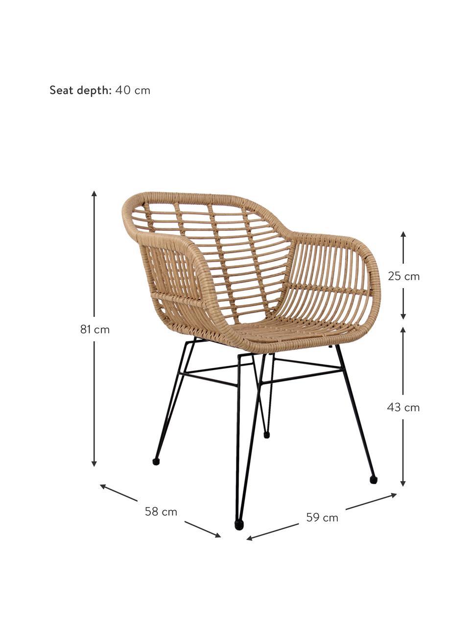 Krzesło z podłokietnikami z polirattanu Costa, 2 szt., Stelaż: metal malowany proszkowo, Jasny brązowy, czarny, S 59 x G 58 cm