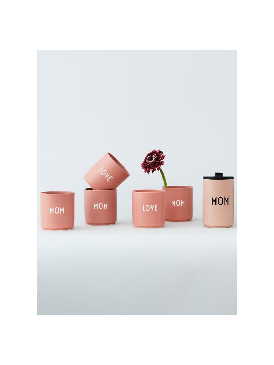 Design Becher Favourite LOVE in Terrakotta mit Schriftzug, Fine Bone China (Porzellan) Fine Bone China ist ein Weichporzellan, das sich besonders durch seinen strahlenden, durchscheinenden Glanz auszeichnet., Rosa, Weiß, Ø 8 x H 9 cm
