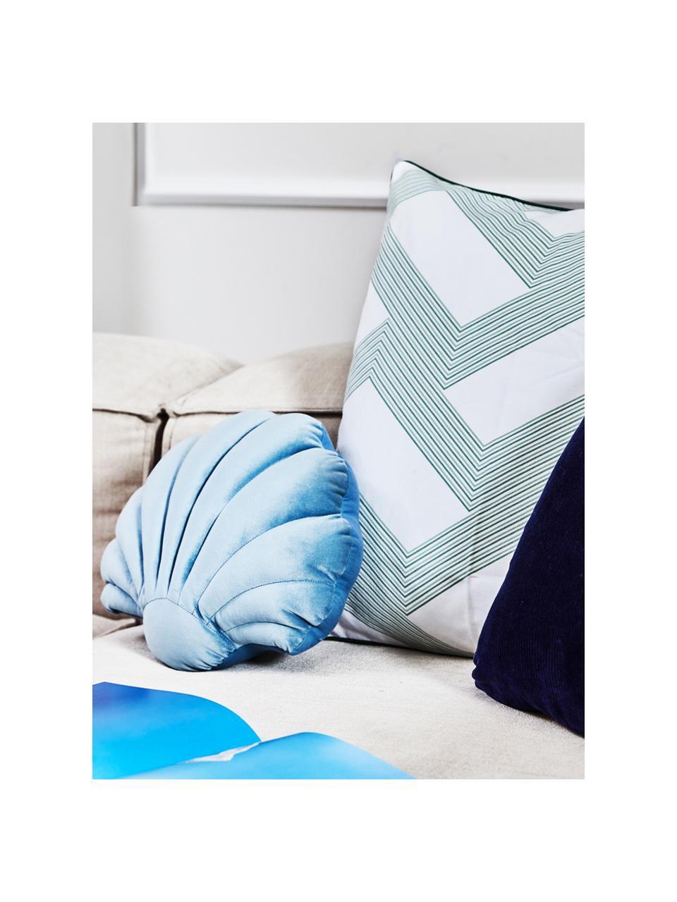Poduszka z aksamitu Shell, Jasny niebieski, S 32 x D 27 cm