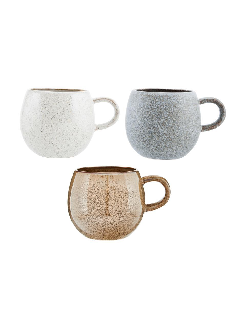 Komplet ręcznie wykonanych kubków do herbaty Addison, 3 elem., Kamionka, Szary, beżowy, biały, Ø 11 x W 10 cm