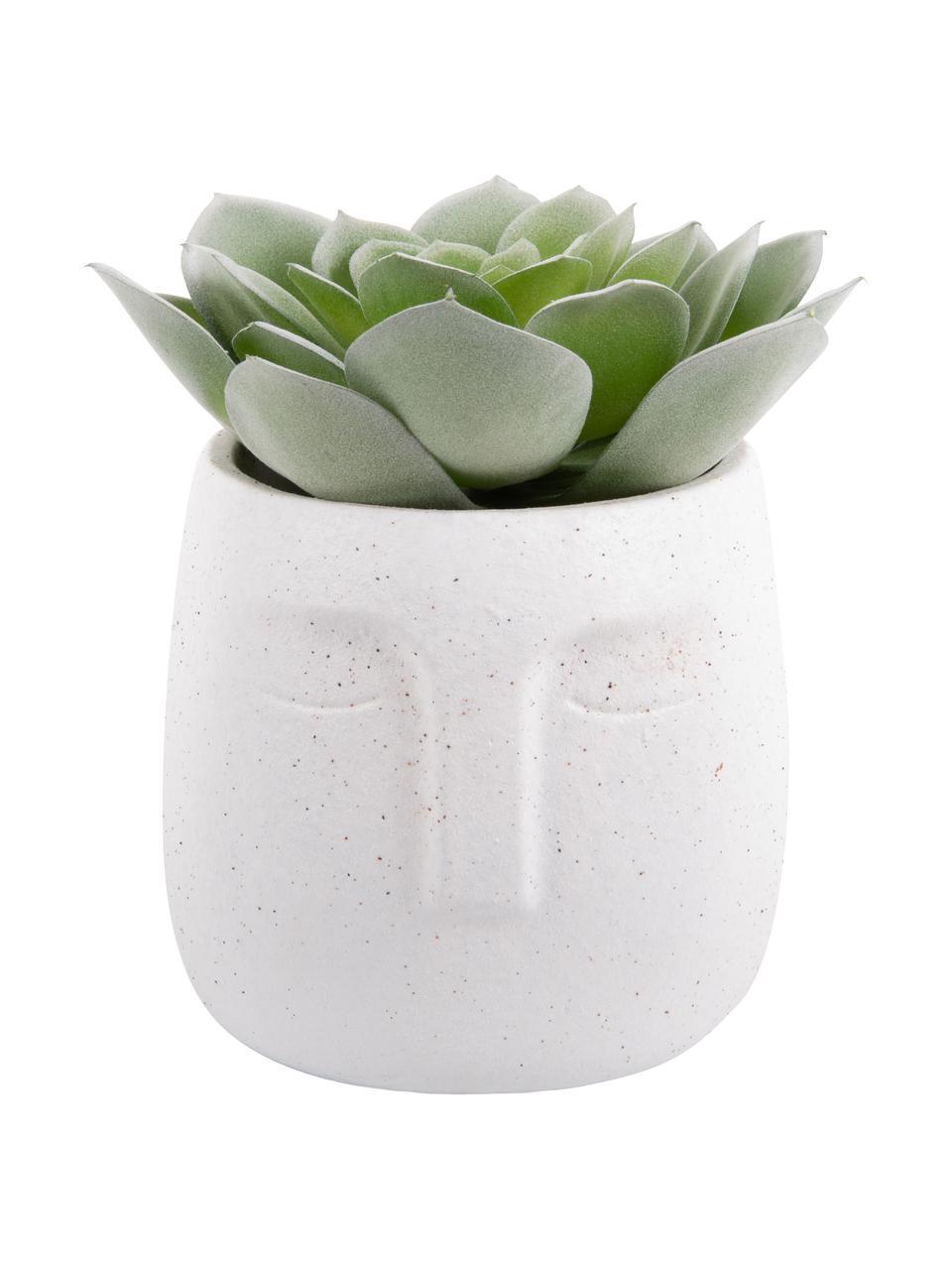 Portavaso viso in cemento Face, Cemento, Bianco, Ø 13 x Alt. 14 cm