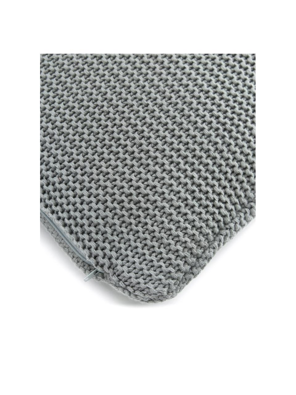 Federa arredo a maglia in cotone biologico verde salvia Adalyn, 100% cotone biologico, certificato GOTS, Verde salvia, Larg. 60 x Lung. 60 cm