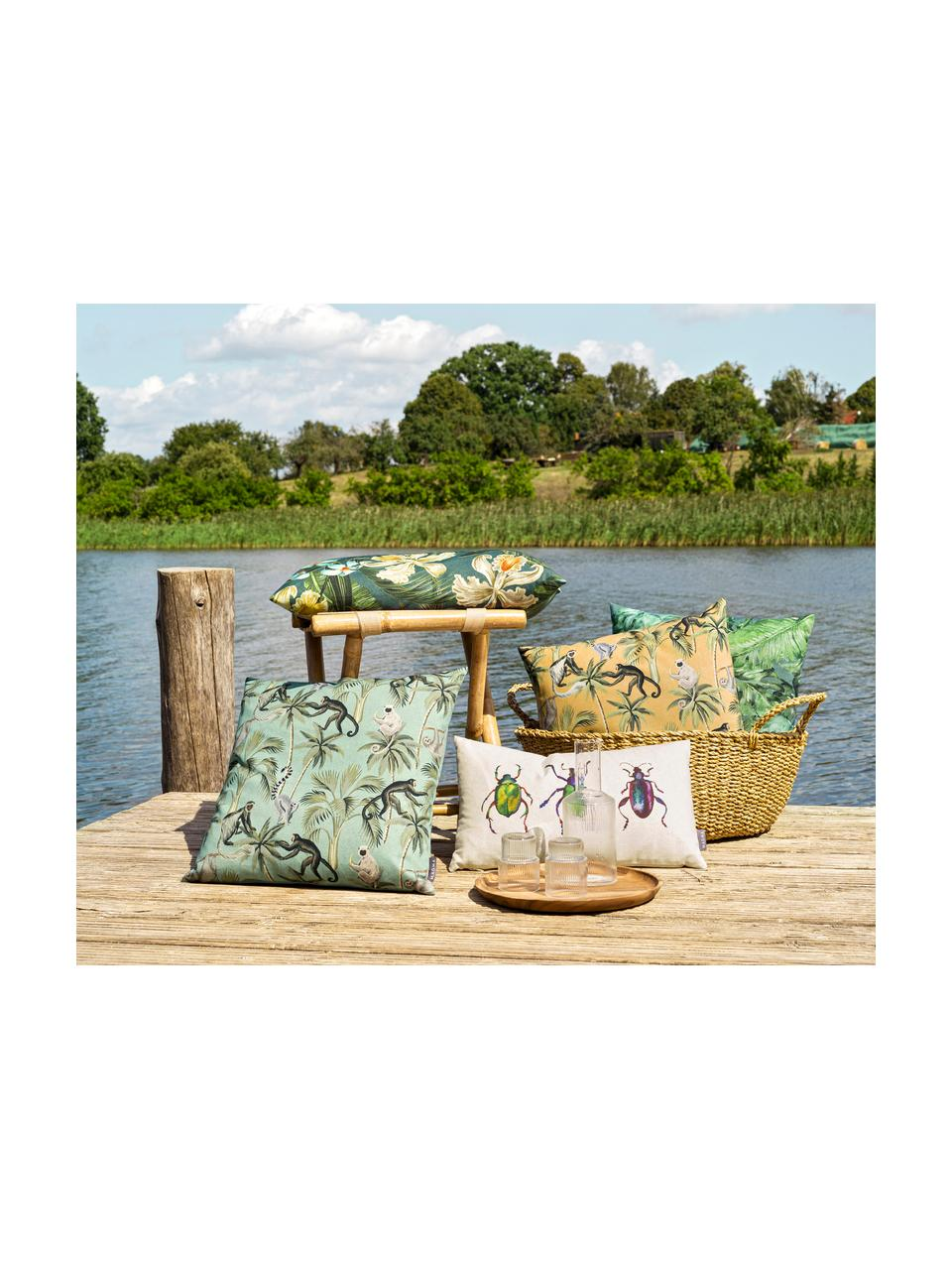 Wendekissenhülle Backwoods mit tropischem Print, 85% Baumwolle, 15% Leinen, Grün, Braun, Beige, 50 x 50 cm