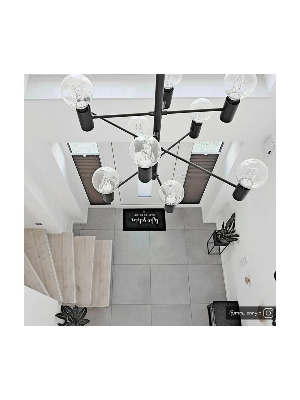Großer Kronleuchter Paris, Baldachin: Messing, lackiert, Leuchte: SchwarzKabel: Transparent, Ø 80 cm