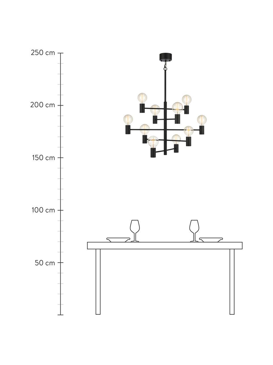 Grote kroonluchter Paris, Gelakt messing, Lamp: zwart. Snoer: transparant, Ø 80 cm