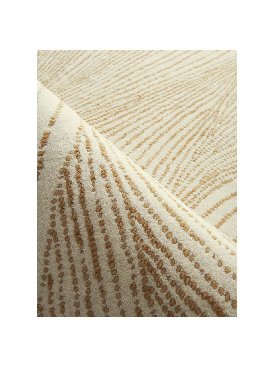 Handgewebter Wollteppich Waverly mit Wellenmuster, 100% Wolle, Beige, Weiß, B 200 x L 300 cm (Größe L)