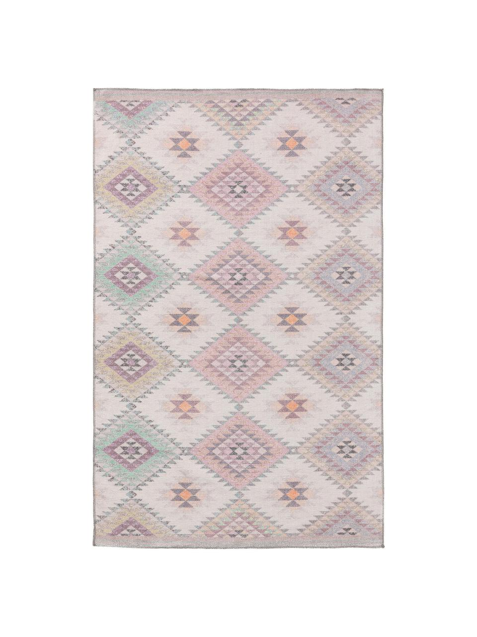 Tapis kilim ethnique réversible Kelim Ana, Rose, multicolore