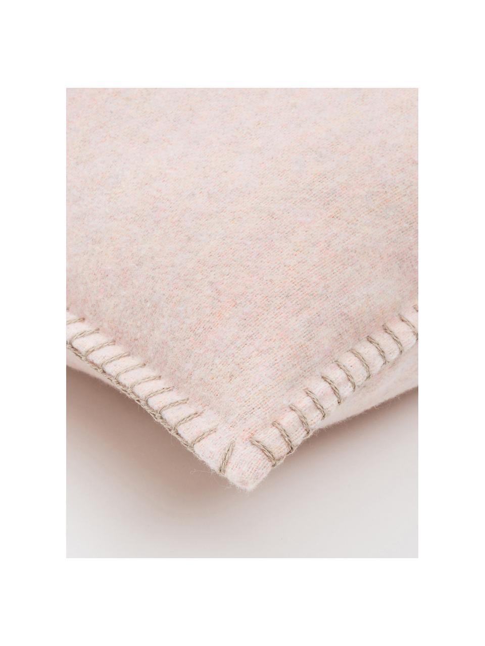 Weiche Fleece-Kissenhülle Sylt mit Steppnaht, 85% Baumwolle, 8% Viskose, 7% Polyacryl, Altrosa, Creme, 40 x 40 cm