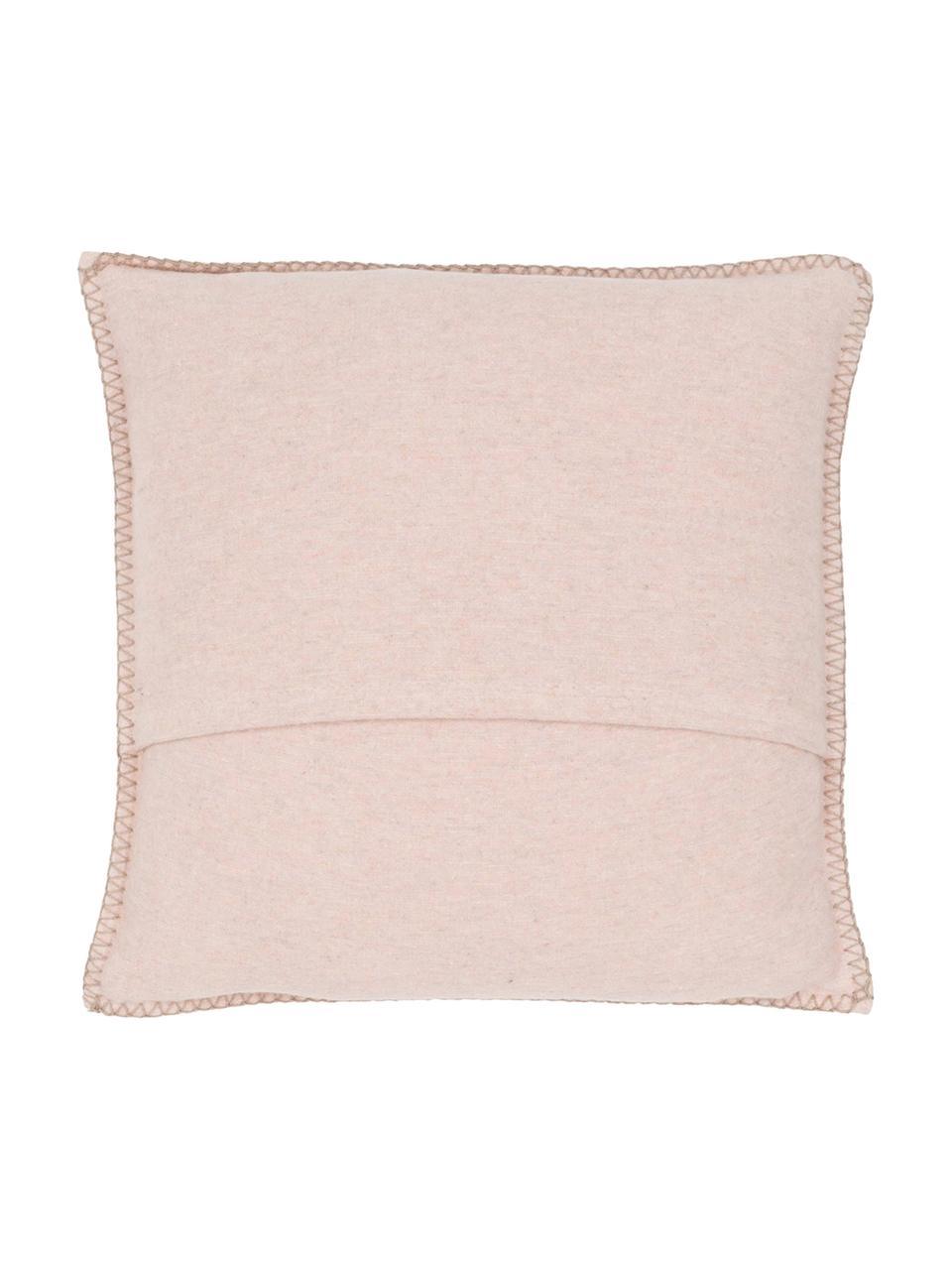 Poszewka na poduszkę z polaru Sylt, 85% bawełna, 8% wiskoza, 7% poliakryl, Brudny różowy, kremowy, S 40 x D 40 cm