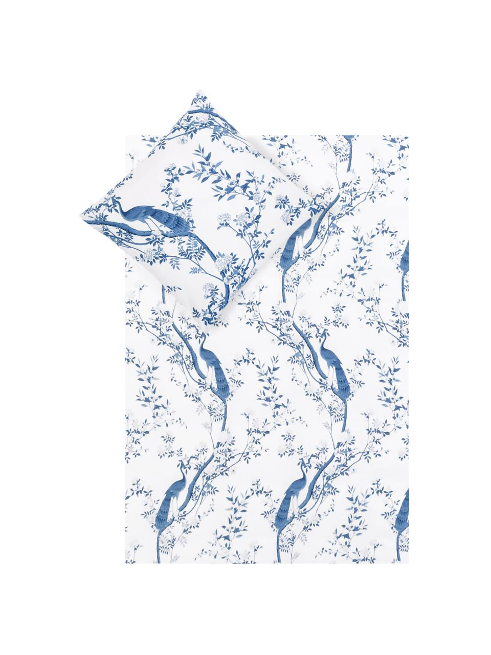 Baumwollperkal-Bettwäsche Annabelle mit floraler Zeichnung, Webart: Perkal Fadendichte 200 TC, Blau, Weiß, 135 x 200 cm + 1 Kissen 80 x 80 cm