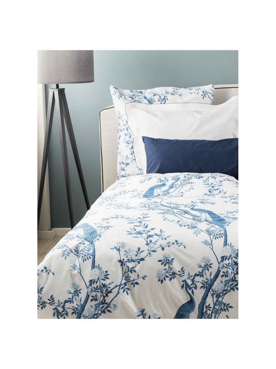 Pościel z perkalu Annabelle, Niebieski, biały, 135 x 200 cm + 1 poduszka 80 x 80 cm