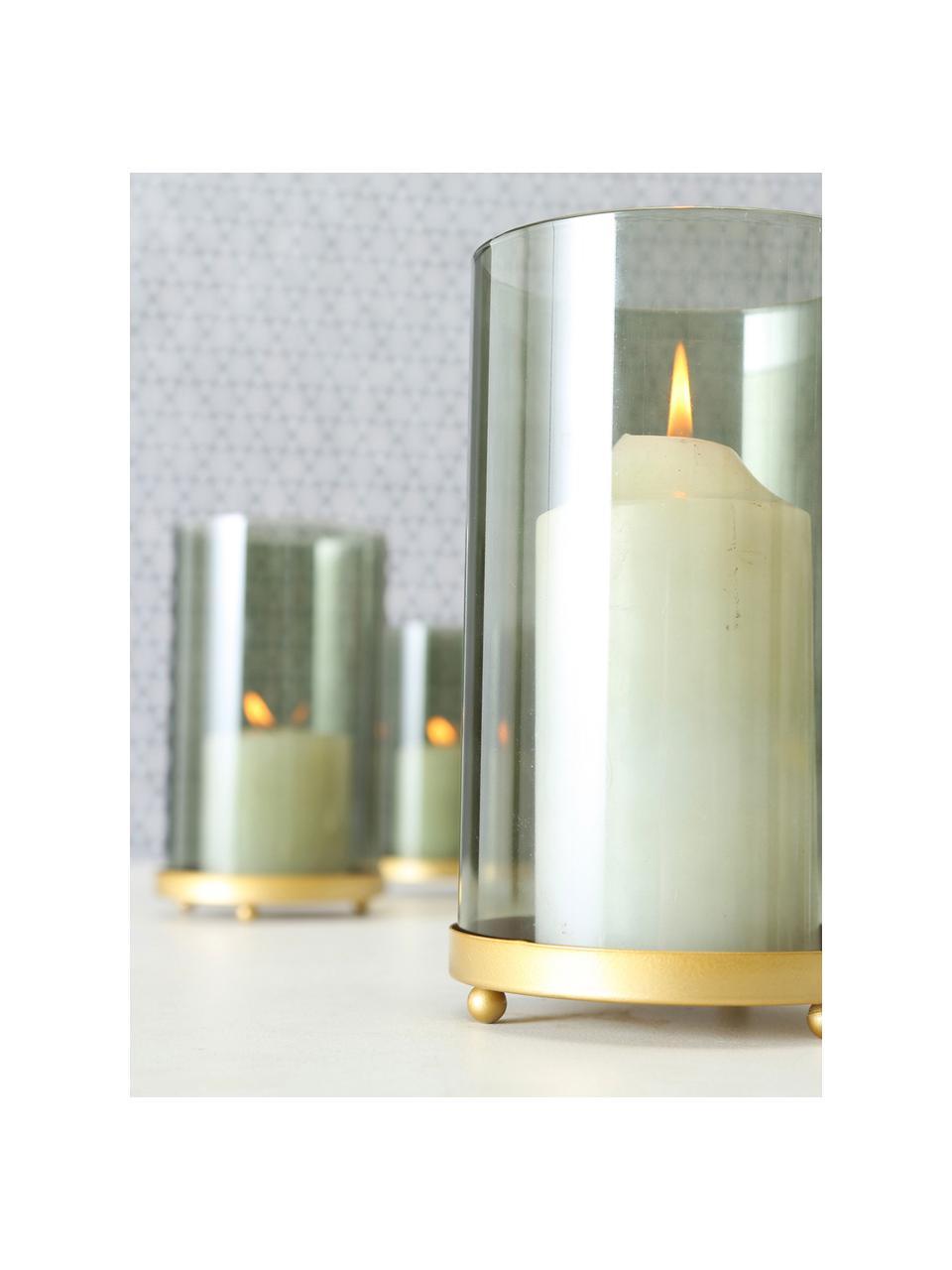 Windlichter-Set Knikki, 3-tlg., Glas, lackiert, Grün, Sondergrößen