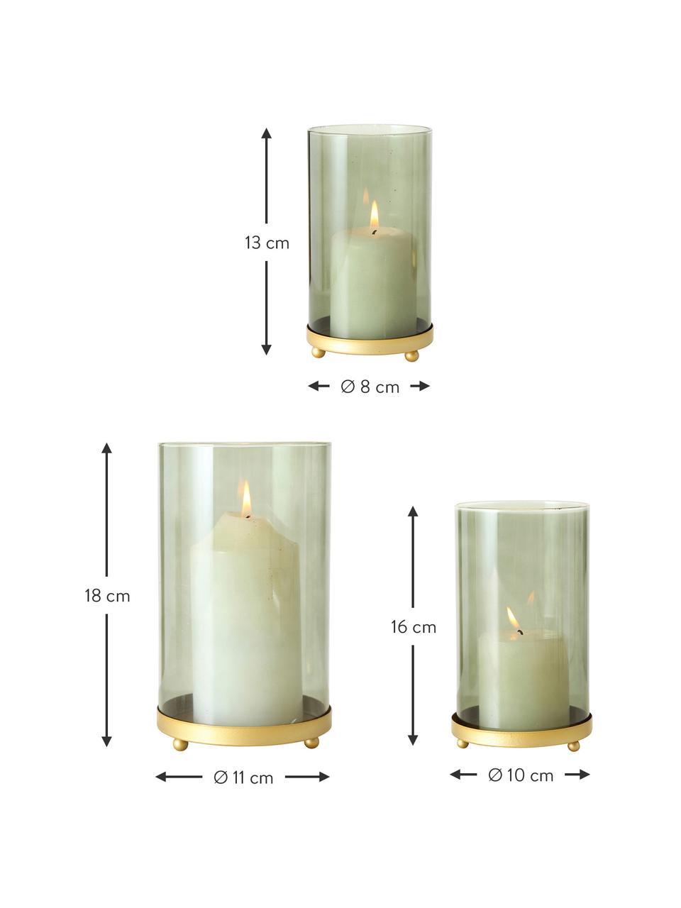 Set 3 portacandele in vetro verde Knikki, Vetro verniciato, Verde, Set in varie misure