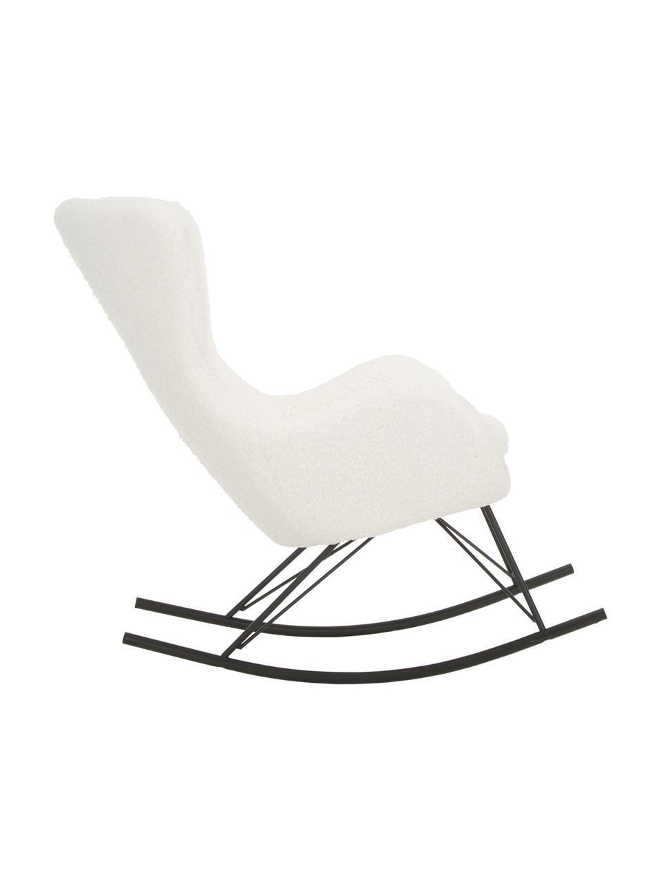 Teddy schommelstoel Wing in crèmewit, Bekleding: polyester (teddyvacht), Frame: gepoedercoat metaal, Geweven stof crèmewit, B 66 x D 102 cm