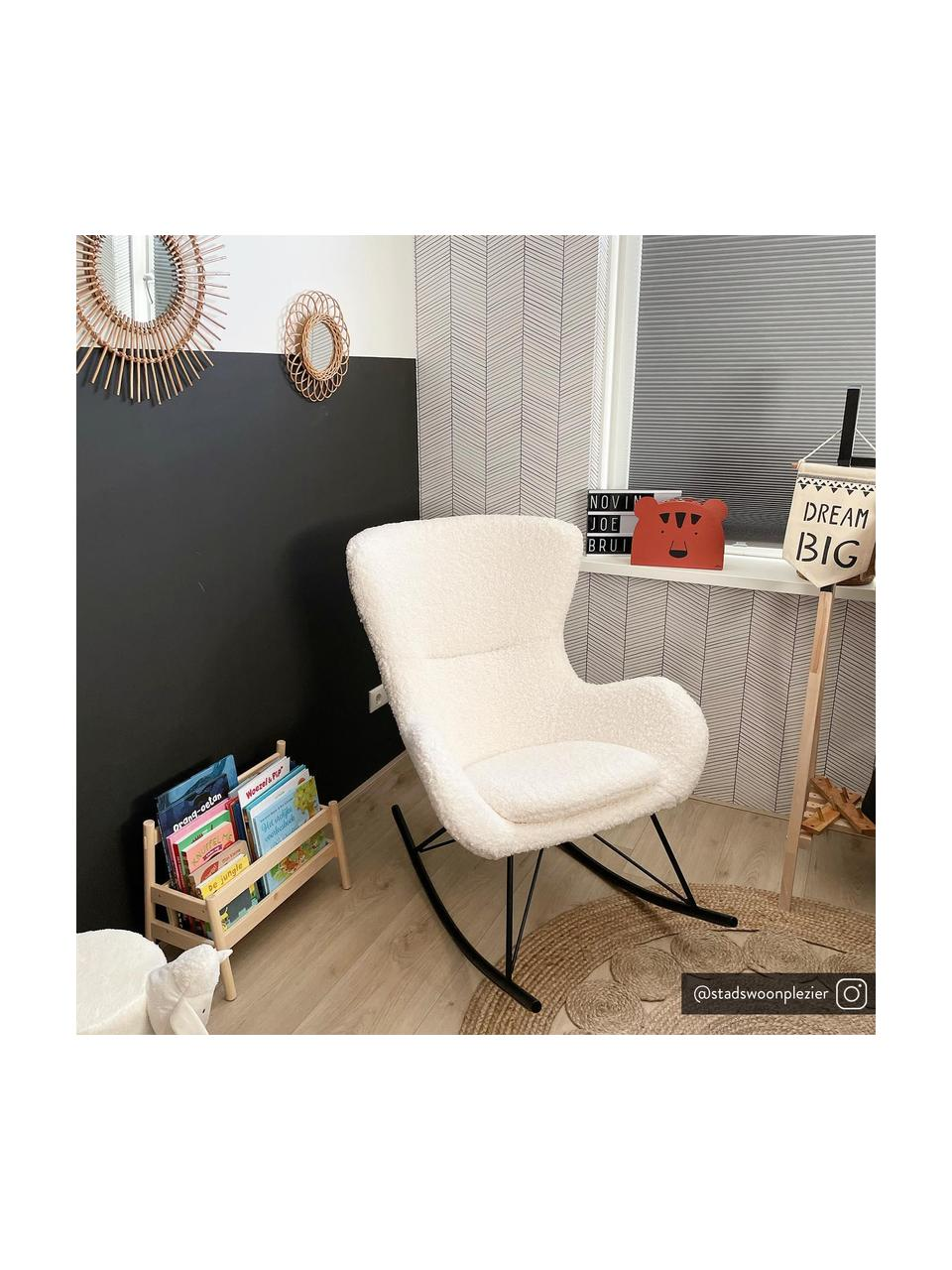 Sedia a dondolo in tessuto teddy Wing, Rivestimento: poliestere (tessuto teddy, Tessuto bianco crema, Larg. 66 x Prof. 102 cm