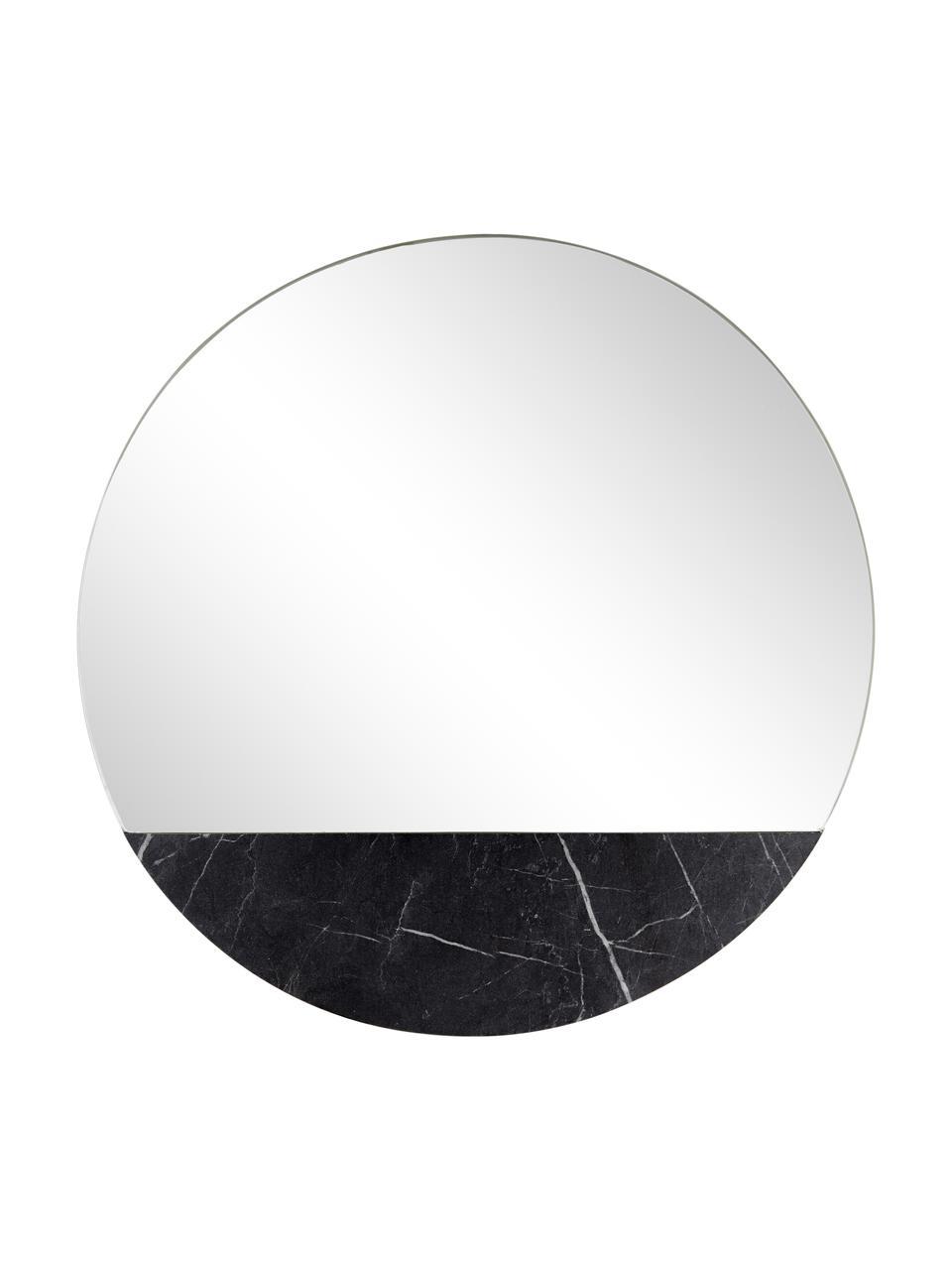 Okrągłe lustro ścienne z imitacji marmuru Stockholm, Czarny wzór marmurowy, Ø 60 cm