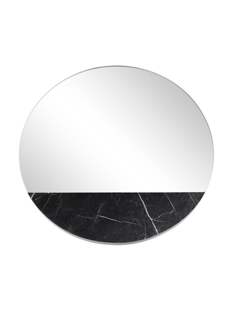 Specchio da parete effetto marmo Stockholm, Cornice: melamina, Superficie dello specchio: lastra di vetro, Retro: pannello di fibra a media, Nero marmorizzato, Ø 60 cm