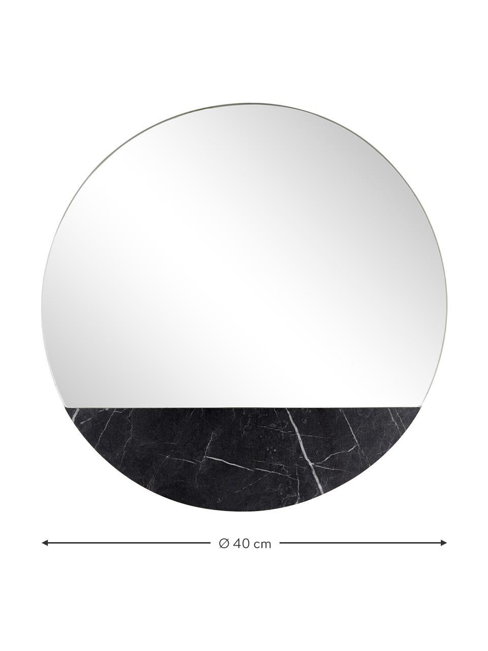 Ronde wandspiegel Stockholm met marmerlook, Lijst: melamine, Zwart gemarmerd, Ø 60 cm