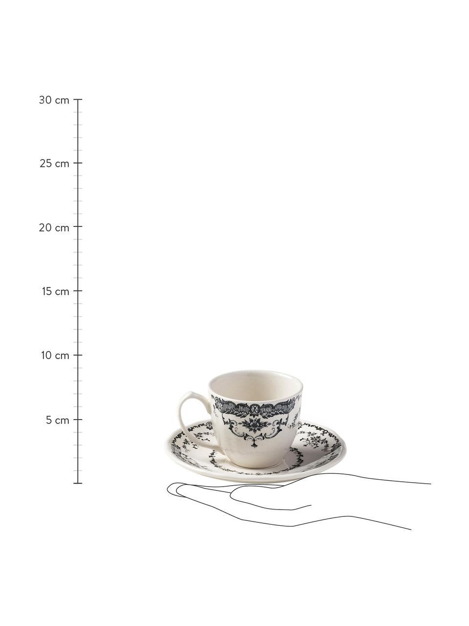 Tasses à espresso avec sous-tasses rose vintage noir Rose, 2pièces, Blanc, noir