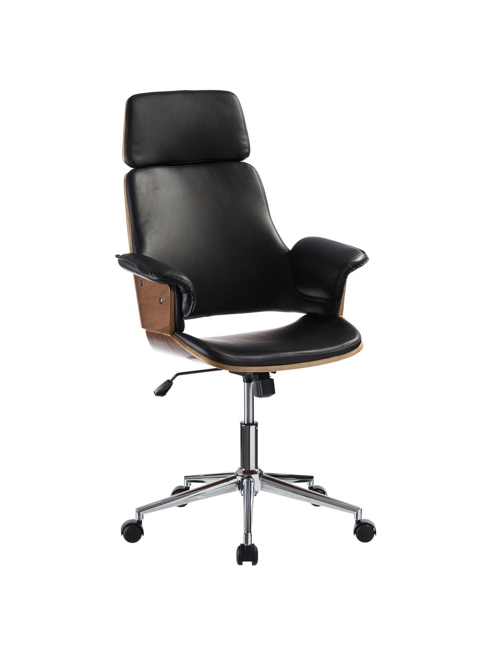 Biurowe krzesło obrotowe ze sztucznej skóryWheels, Tapicerka: sztuczna skóra, Nogi: stal szlachetna, Czarny, S 68 x G 64 cm