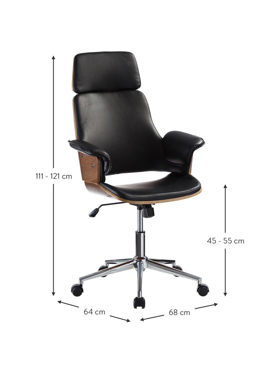 Kunstleder-Bürodrehstuhl Wheels, höhenverstellbar, Bezug: Kunstleder, Beine: Edelstahl, Sitzschale: Holz, Schwarz, B 68 x T 64 cm