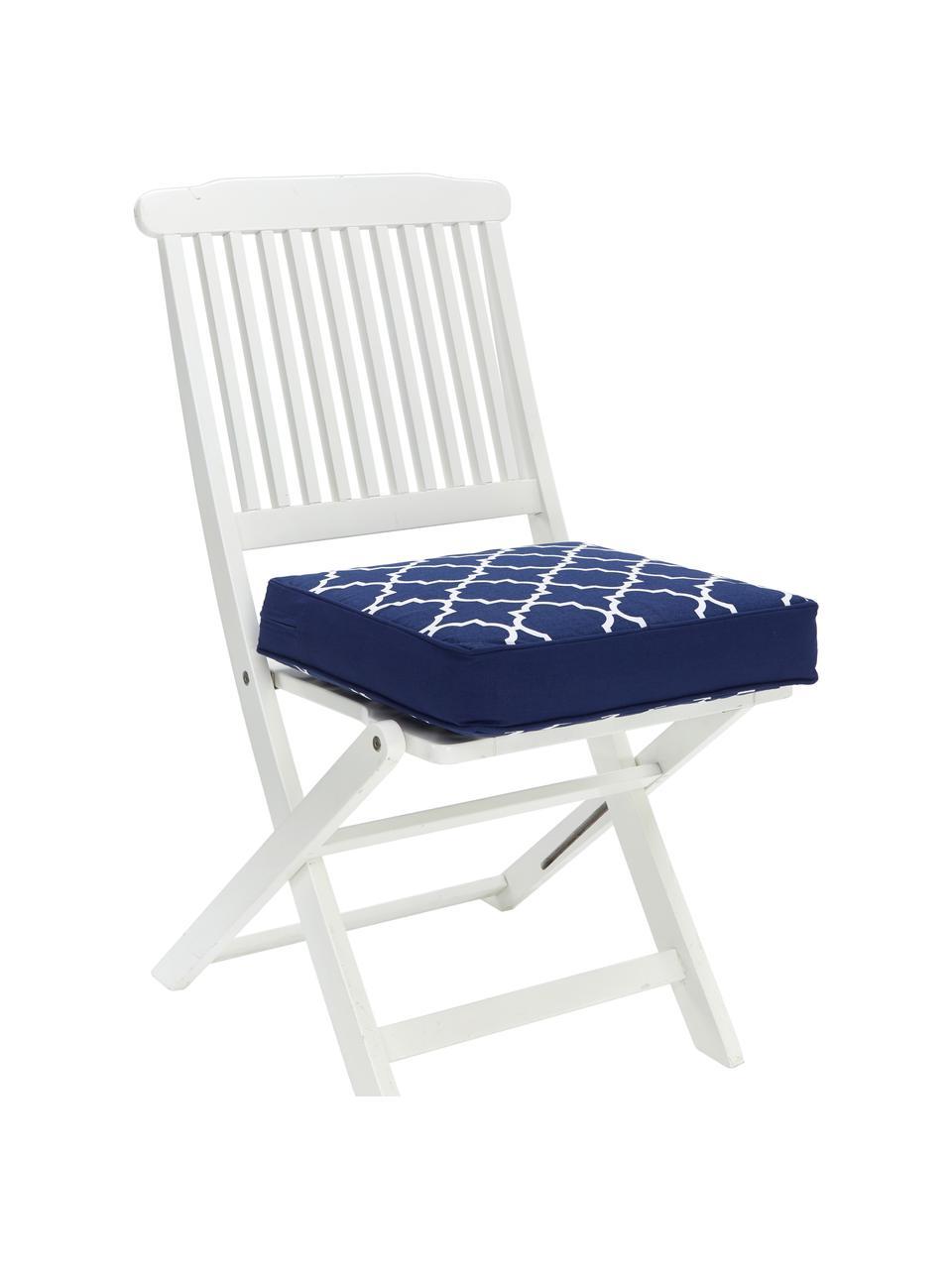 Hohes Sitzkissen Lana in Dunkelblau/Weiß, Bezug: 100% Baumwolle, Blau, 40 x 40 cm