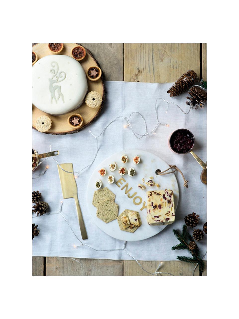 Marmeren serveerplank Artesa, Ø 26 cm, Marmer, Wit, goudkleurig, Ø 26 cm