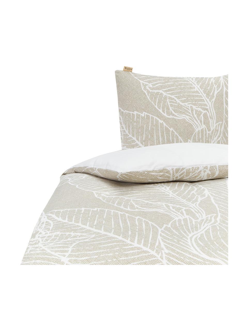 Dubbelzijdige renforcé dekbedovertrek Leaves & Trees, Weeftechniek: renforcé, Olijfgroen, wit, 240 x 220 cm