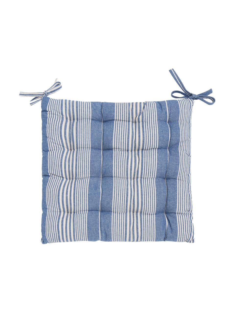 Poduszka na siedzisko z bawełny Tosa, 100% bawełna, Niebieski, biały, S 40 x W 4 cm