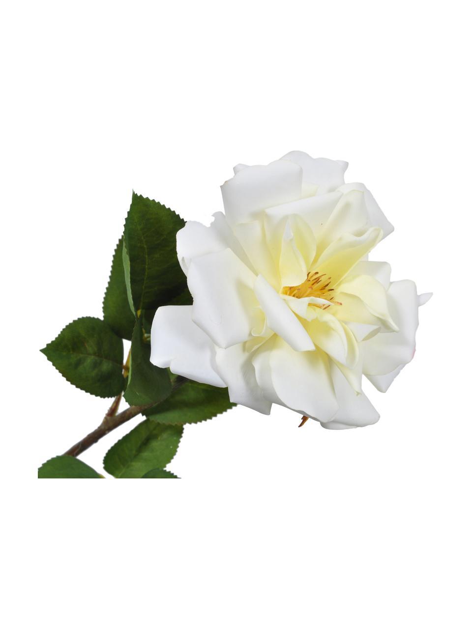 Sztuczny kwiat róży Alina, Biały, żółty, D 54 cm