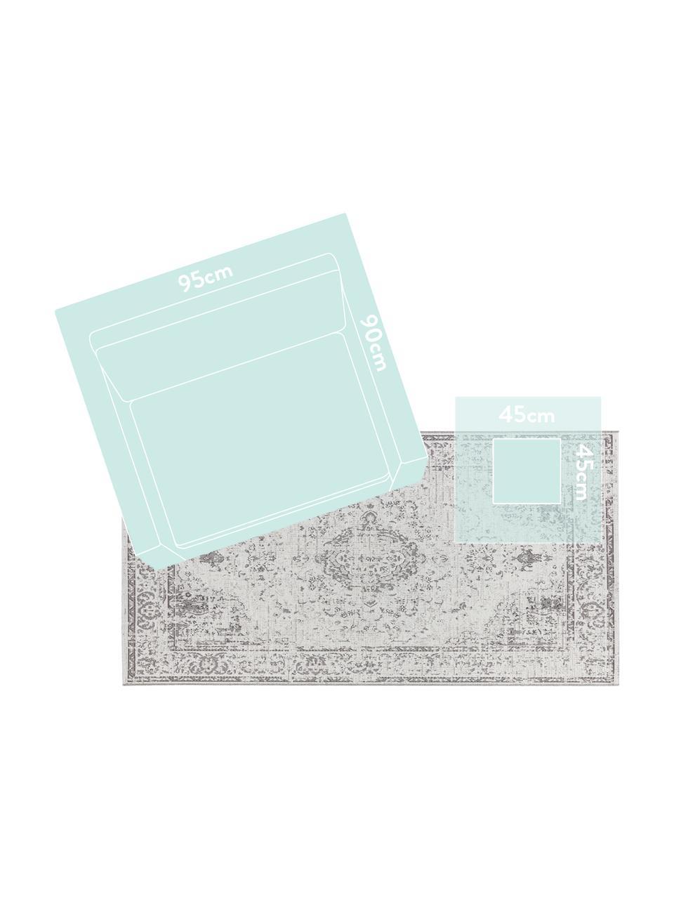 Chodnik wewnętrzny/zewnętrzny vintage Cenon, 100% polipropylen, Kremowy, szary, S 190 x D 290 cm (Rozmiar L)