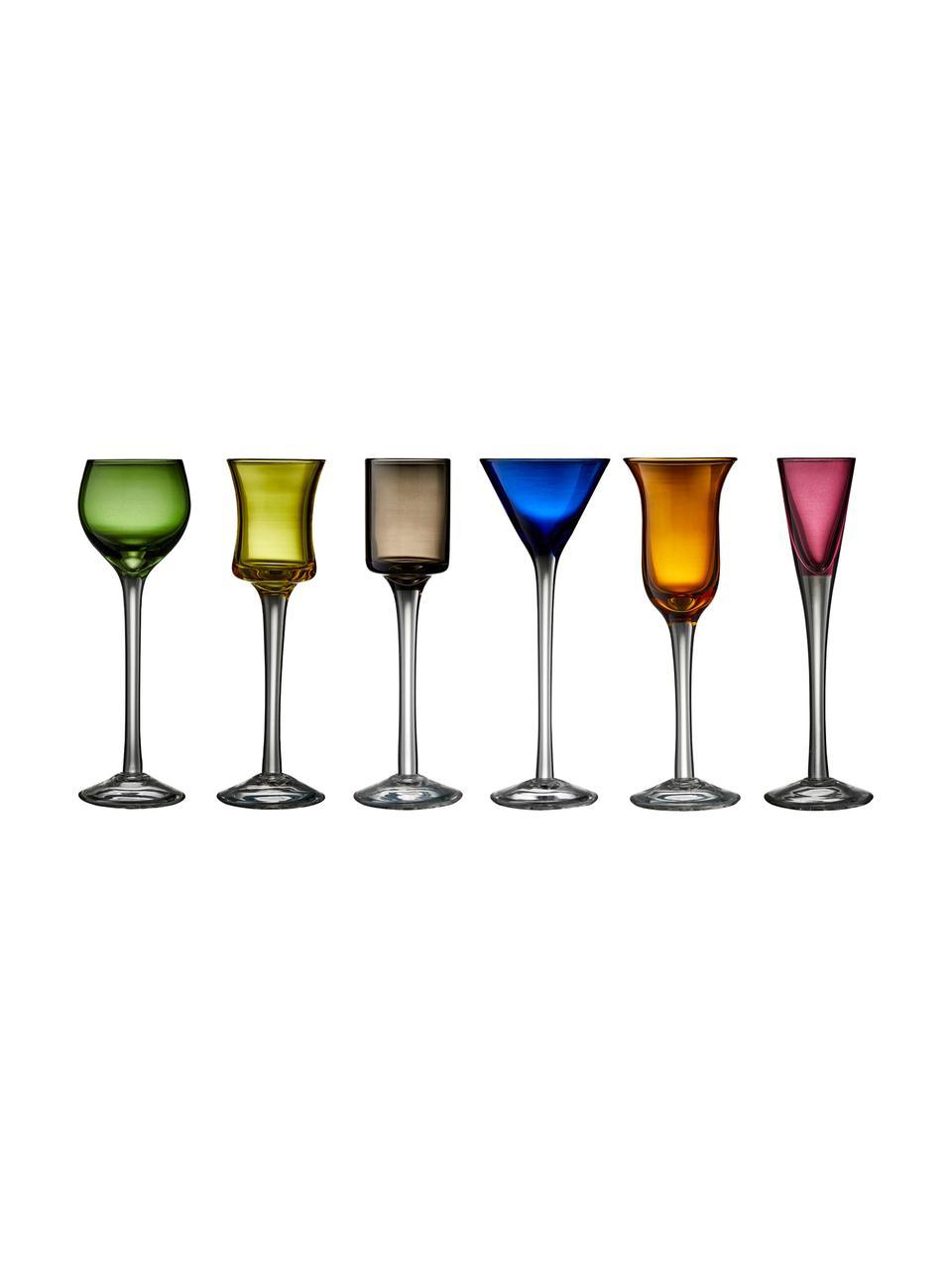 Mondgeblazen borrelglazen Lyngby, 6 stuks, Glas, Groen, blauw, bruin, geel, lila, oranje, Ø 5 x H 16 cm