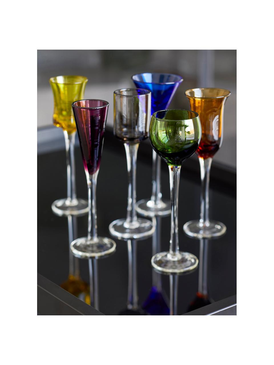 Komplet kieliszków do wódki ze szkła dmuchanego Lyngby, 6 elem., Szkło, Zielony, niebieski, brązowy, żółty, lila, pomarańczowy, Ø 5 x W 16 cm