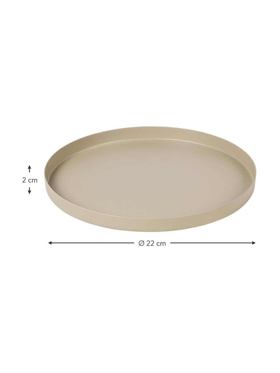 Deko-Tablett Donna in Beige, Ø 22 cm, Metall, beschichtet, Beige, Ø 22 cm