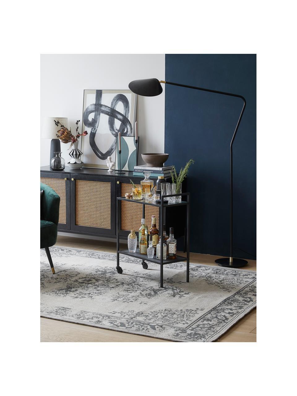 Grote leeslamp Neron met goudkleurige decoratie in zwart, Lampenkap: gepoedercoat metaal, Lampvoet: gepoedercoat metaal, Decoratie: vermessingd metaal, Zwart, 105 x 171 cm