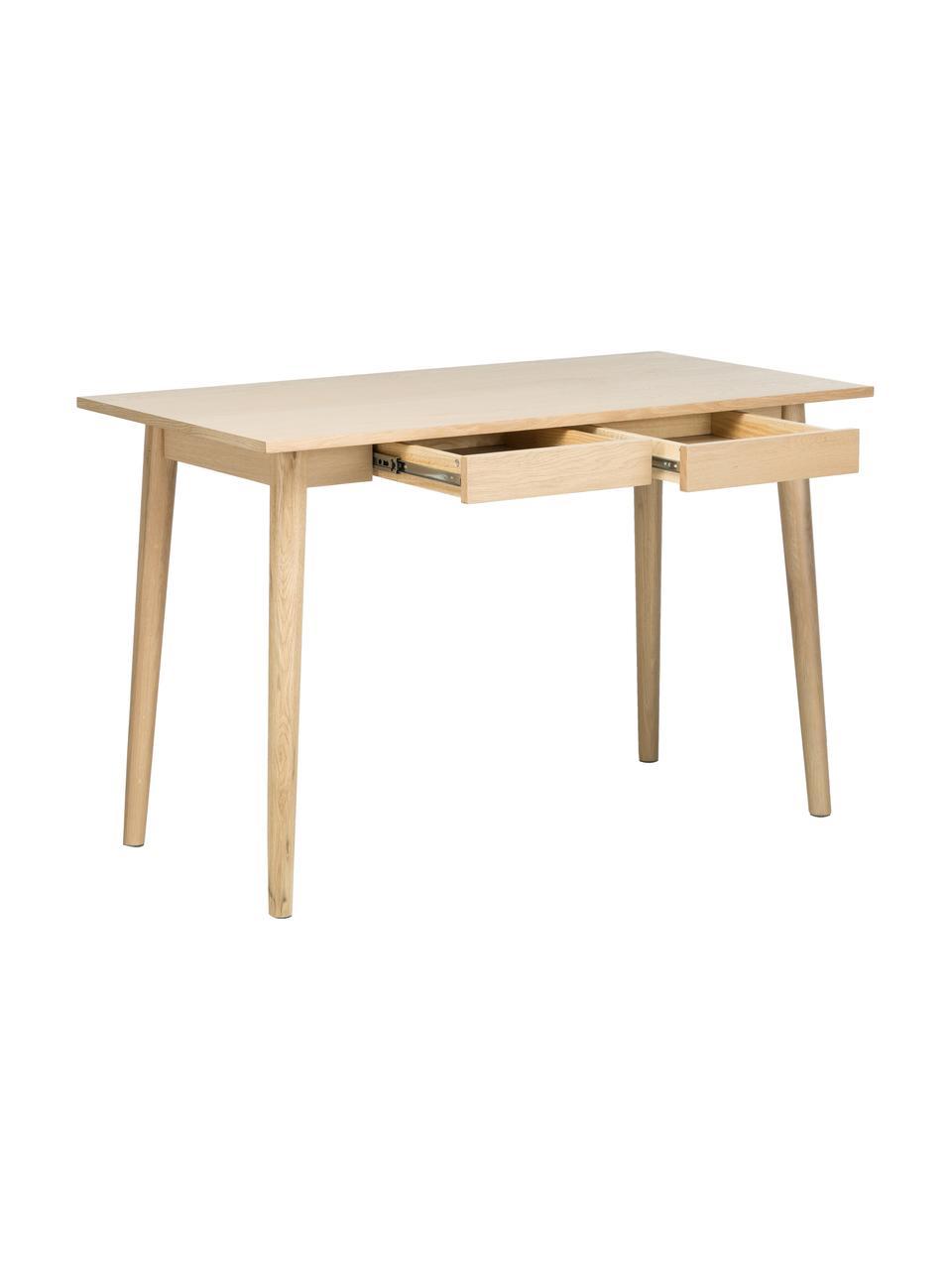 Schmaler Schreibtisch Marte aus Eiche, Tischplatte: Mitteldichte Holzfaserpla, Eichenholz,, B 120 x T 60 cm