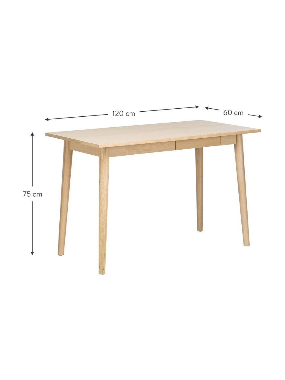 Małe biurko z drewna dębowego Marte, Nogi: drewno dębowe, fornir, Blat: płyta pilśniowa średniej , Drewno dębowe, S 120 x G 60 cm