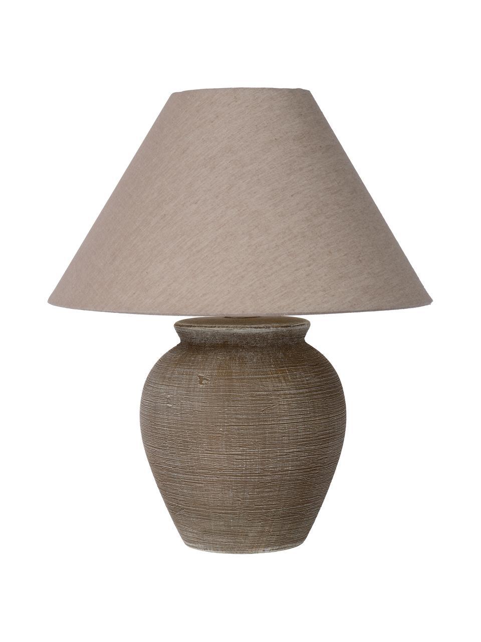 Keramik-Tischlampe Ramzi in Braun, Lampenschirm: Baumwolle, Lampenfuß: Keramik, Braun, Beige, Ø 34 x H 42 cm
