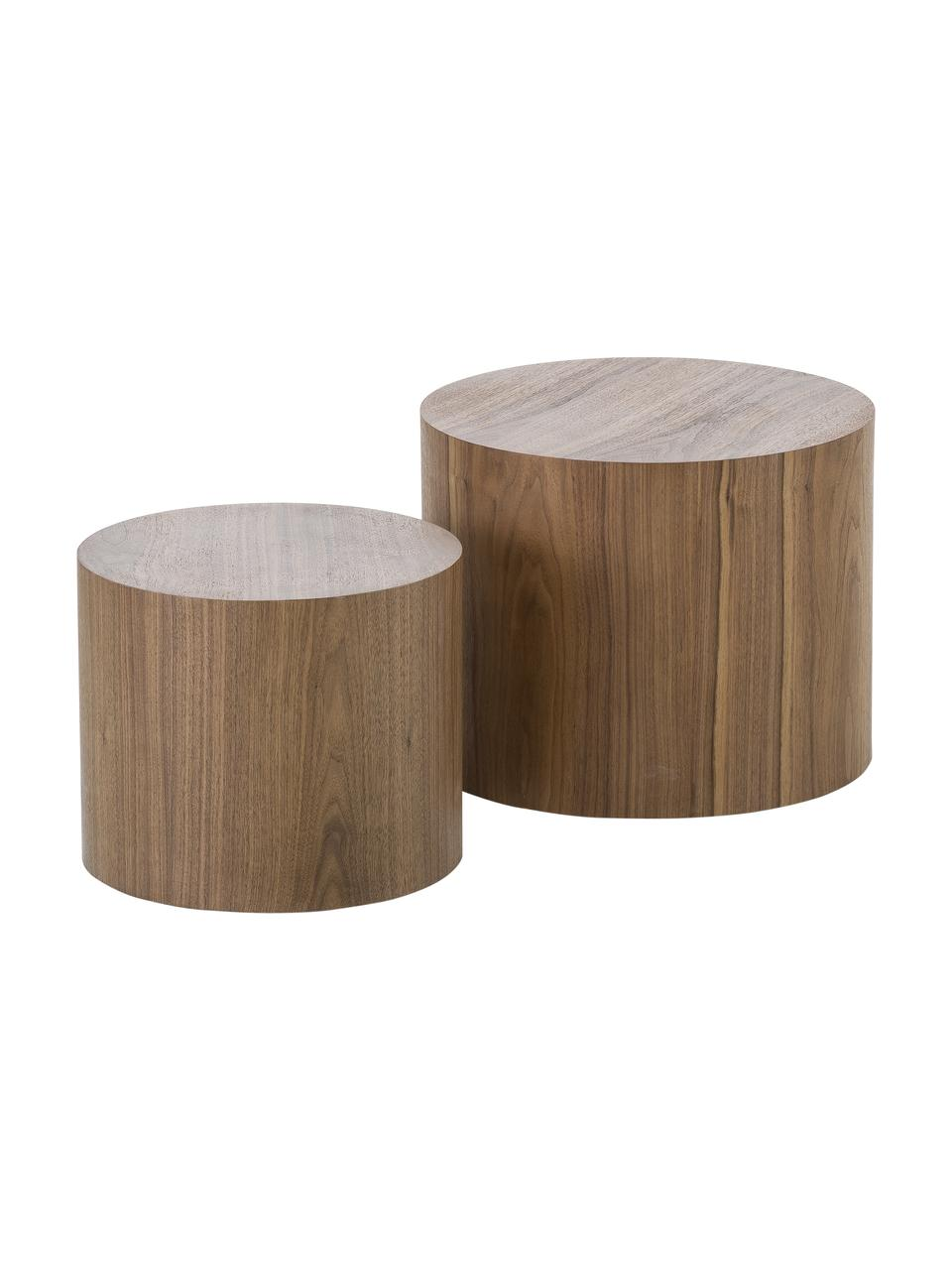 Komplet stolików pomocniczych z drewna Dan, 2 elem., Płyta pilśniowa (MDF), fornir z drewna orzechowego, Ciemny brązowy, Komplet z różnymi rozmiarami